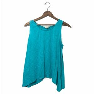 Slit back light blue tank top